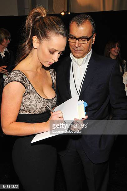 Jennifer LoveHewitt backstage with designer Georges Chakra attends the Georges Chakra Fall 2009 during MercedesBenz Fashion Week at The Promenade in...