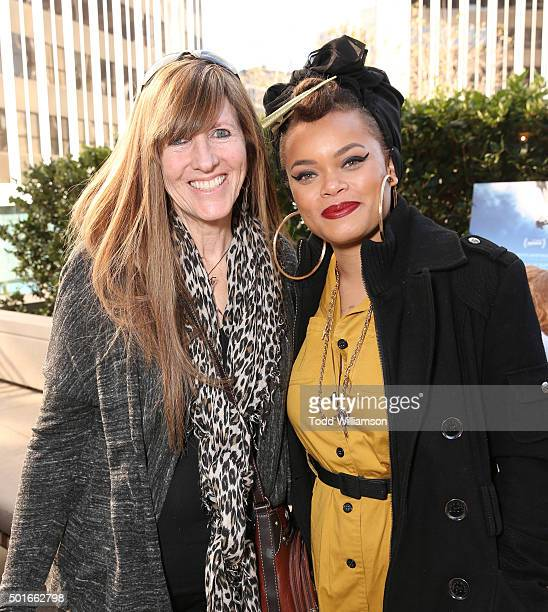 Jennifer LoweAnker and Andrea Day attend a Celebration of MERU Luncheon With Jimmy Chin And Conrad Anker at Craft on December 16 2015 in Century City...