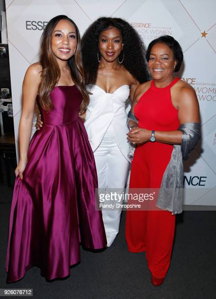 Jennifer M Edwards Angela Bassett and Dr Reates Curry attend the 2018 Essence Black Women In Hollywood Oscars Luncheon at Regent Beverly Wilshire...