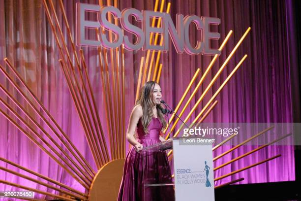 Jennifer M Edwards speaks onstage during the 2018 Essence Black Women In Hollywood Oscars Luncheon at Regent Beverly Wilshire Hotel on March 1 2018...