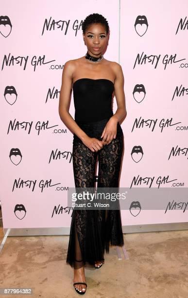 Jennifer Malengele attends the Nasty Gal Pop Up Shop on Carnaby Street on November 23 2017 in London England