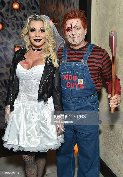 Jennifer Mazur and photographer Kevin Mazur attend Heidi Klum's 17th Annual Halloween Party sponsored by SVEDKA Vodka at Vandal on October 31 2016 in...