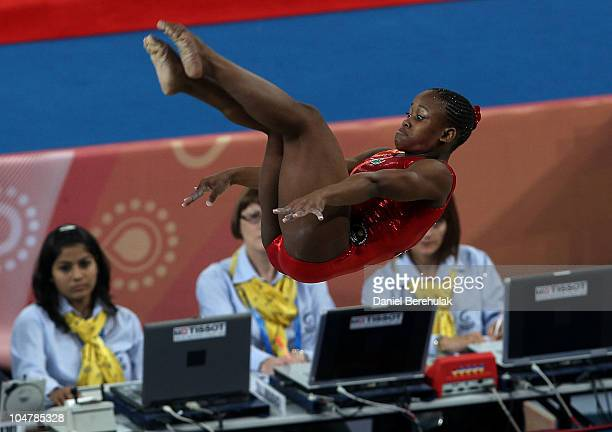 Jennifer Mbali Khwela of South Africa in action on the beam during the Women's Artistic Gymnastics Qualification at IG Sports Complex during day two...