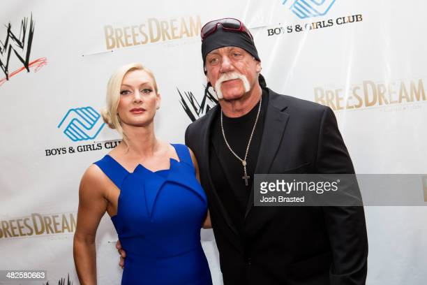 Jennifer McDaniel and Hulk Hogan attend WWE's 2014 SuperStars For Kids at the New Orleans Museum of Art on April 3 2014 in New Orleans
