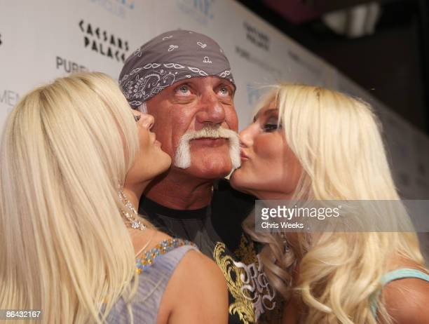 Jennifer McDaniel Hulk Hogan and Brooke Hogan attend PURE Nightclub on May 5 2009 in Las Vegas NV