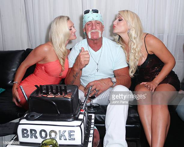 Jennifer McDaniel Hulk Hogan and Brooke Hogan celebrate Hulk Hogan's 58th birthday during Brooke Hogan's portrait unveiling at Women In cages exhibit...