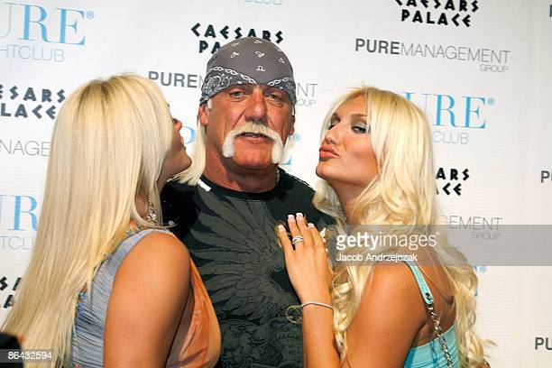 Jennifer McDaniel Hulk Hogan and Singer Brooke Hogan arrive at the Pure Nightclub at Caesars Palace on May 5 2009 in Las VegasNevada