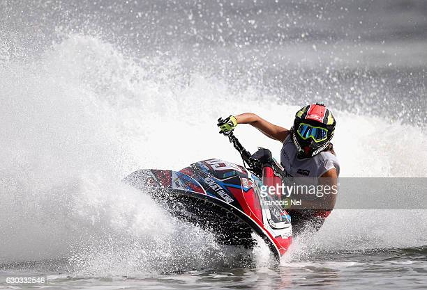 Jennifer Menard of France practice ahead of the Aquabike Class Pro Circuit World Championships - Grand Prix of Sharjah at Khalid Lagoon on December...