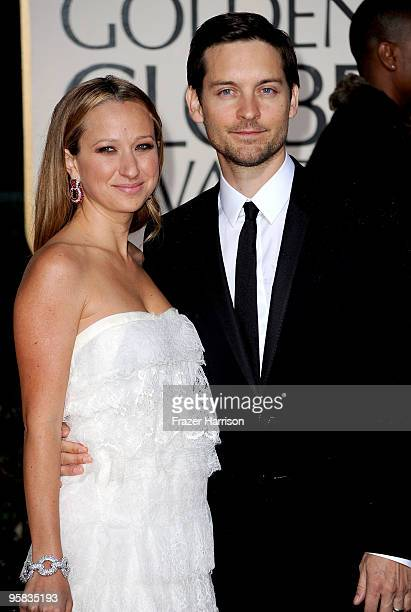 Jennifer Meyer and actor Tobey Macguire arrive at the 67th Annual Golden Globe Awards held at The Beverly Hilton Hotel on January 17 2010 in Beverly...