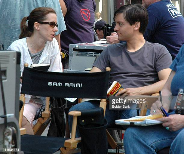 Jennifer Meyer and Tobey Maguire during SpiderMan 3 on Location in New York City June 16 2006 at Streets of Soho in New York City New York United...