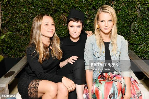Jennifer Meyer Cassandra Grey and Kelly Sawyer Patricof at CHANEL Dinner Celebrating Lucia Pica The Travel Diary Makeup Collection on July 12 2017 in...