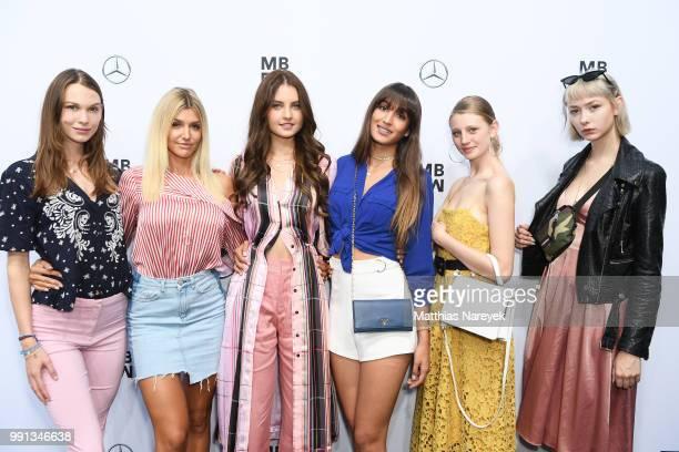 Jennifer Michalczyk Sara Leutenegger Trixi Giese and Sally Haas attend the Rebekka Ruetz show during the Berlin Fashion Week Spring/Summer 2019 at...