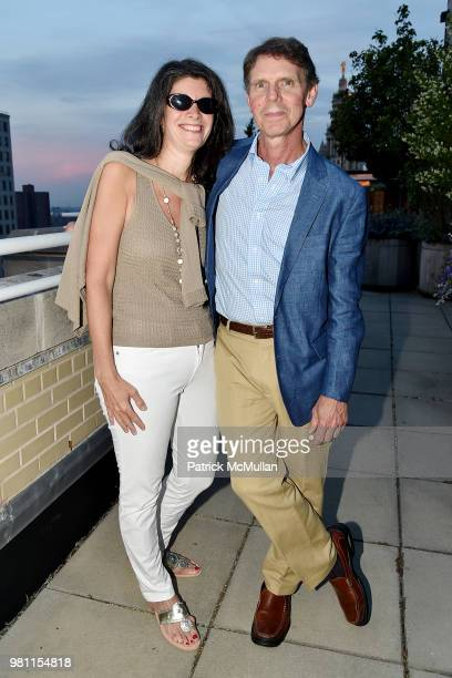 Jennifer Mirsky and Charlie Johnson attend Summer Birthday Cocktails For Lawrence Kaplan at Tower 270 - Rooftop on June 21, 2018 in New York City.