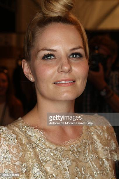 Jennifer Morrison attends backstage at the Monique Lhullier show at Mercedes-Benz Fashion Week Spring 2015 at The Theatre at Lincoln Center on...