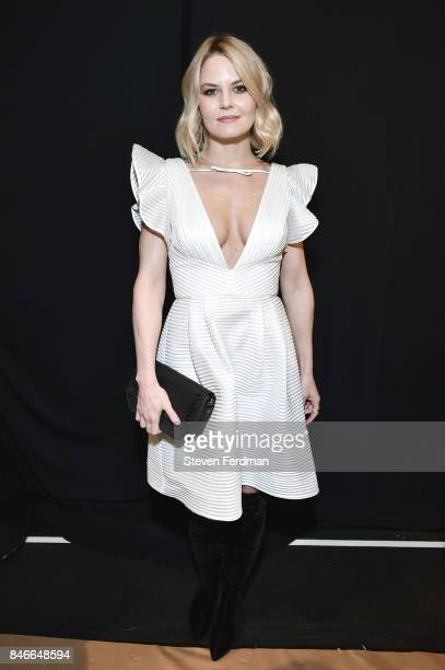 Jennifer Morrison poses backstage for the Marchesa fashion show during New York Fashion Week The Shows at Gallery 1 Skylight Clarkson Sq on September...