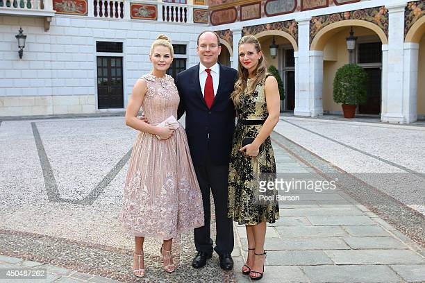 Jennifer Morrison, Prince Albert II of Monaco and Andrea Joy Cook aka A.J. Cook attends a Cocktail Reception at Monaco Palace on June 9, 2014 in...