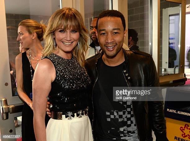 Jennifer Nettles and John Legend attend the 2014 CMT Music Awards at Bridgestone Arena on June 4, 2014 in Nashville, Tennessee.