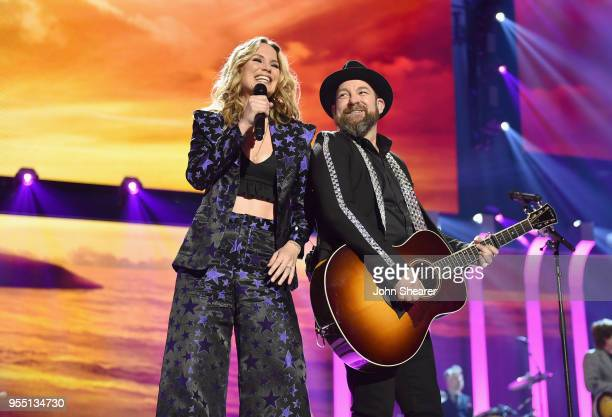 Jennifer Nettles and Kristian Bush of musical group Sugarland perform onstage during the 2018 iHeartCountry Festival By AT&T at The Frank Erwin...