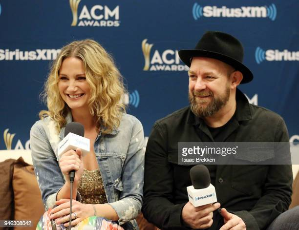 Jennifer Nettles and Kristian Bush of Sugarland attend SiriusXM's The Highway channel broadcast backstage at the Academy of Country Music Awards on...