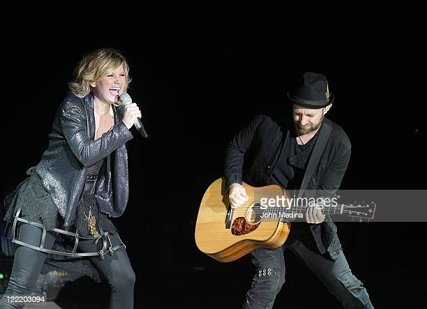 Jennifer Nettles and Kristian Bush of Sugarland perform at Shoreline Amphitheatre on August 26 2011 in Mountain View California
