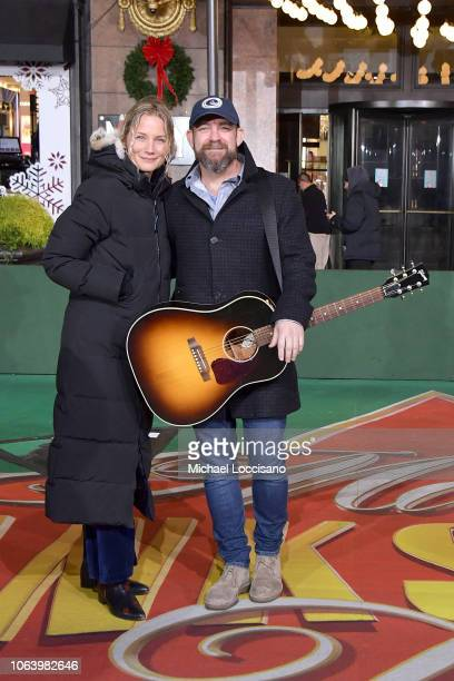 Jennifer Nettles and Kristian Bush of Sugarland perform during the 92nd Annual Macy's Thanksgiving Day Parade day two of rehearsals on November 20...