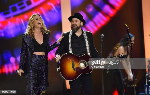 Jennifer Nettles and Kristian Bush of Sugarland perform during the 2018 iHeartCountry Festival by ATT at The Frank Erwin Center on May 5 2018 in...