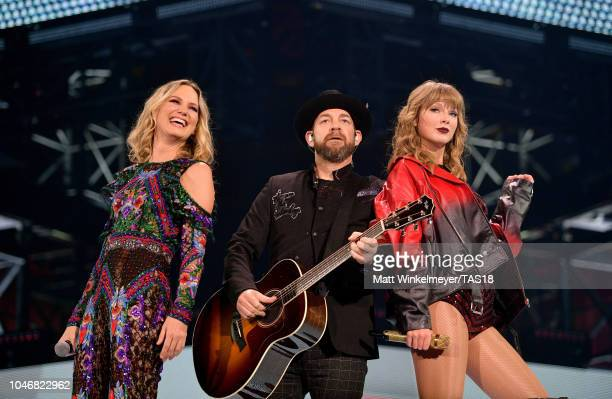Jennifer Nettles and Kristian Bush of Sugarland perform onstage with Taylor Swift during the reputation Stadium Tour at AT&T Stadium on October 6,...