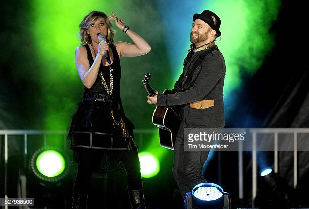 Jennifer Nettles and Kristian Bush of Sugarland perform part of the bands' Incredible Machine Tour at Raley Field in Sacramento, California.