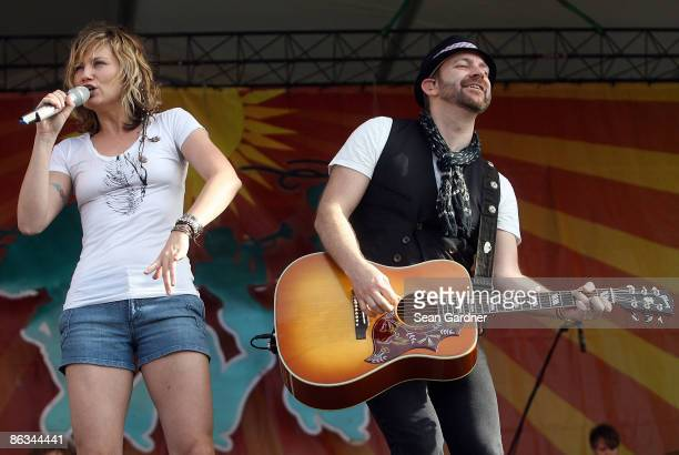 Jennifer Nettles and Kristian Bush of Sugarland performs during the 40th Annual New Orleans Jazz & Heritage Festival Presented by Shell at the Fair...