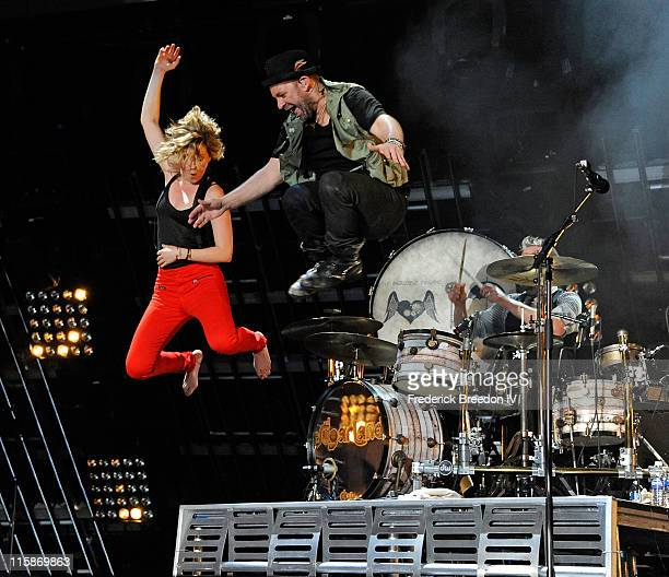 Jennifer Nettles and Kristian Bush of the band Sugarland performs on the stage at LP Field at the 2011 CMA Music Festival on June 10 2011 in...