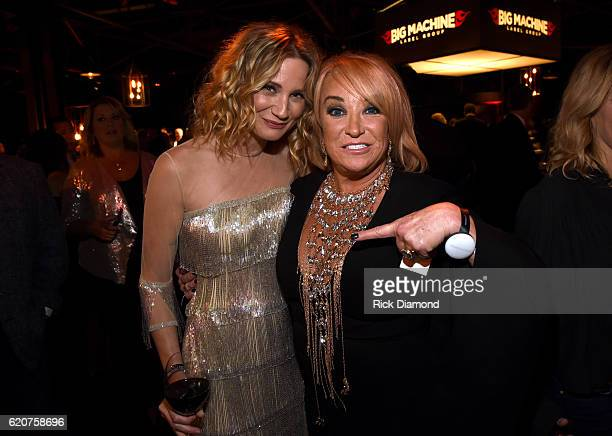 Jennifer Nettles and Tanya Tucker attend the Big Machine Label Group's celebration of the 50th Annual CMA Awards at Marathon Music Works on November...
