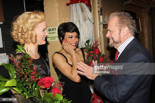 """Jennifer Nettles as """"Roxie Hart"""", Carly Hughes as """"Velma Kelly"""" and Producer Barry Weissler pose backstage on Jennifer Nettles and Carly Hughes..."""