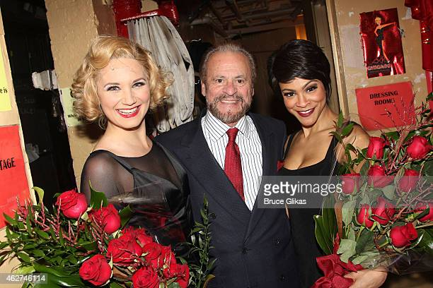 """Jennifer Nettles as """"Roxie Hart"""", Producer Barry Weissler and Carly Hughes as """"Velma Kelly"""" pose backstage on Jennifer Nettles and Carly Hughes..."""