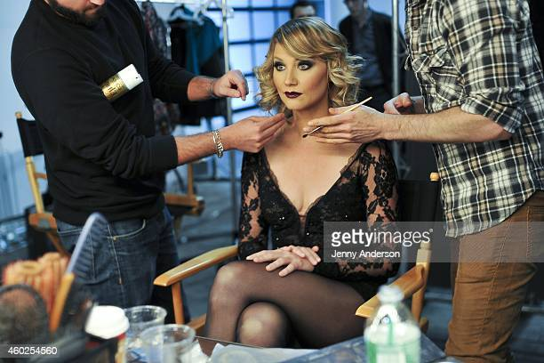 """Jennifer Nettles behind the scenes of her photo shoot for her Broadway debut as Roxie Hart In """"Chicago"""" on December 10, 2014 in New York City."""
