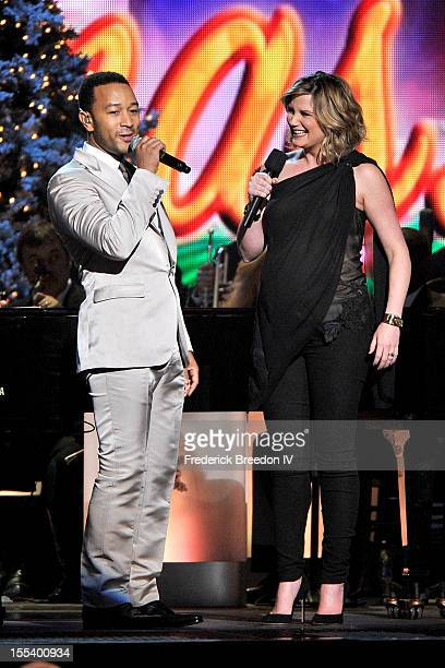 Jennifer Nettles introduces John Legend during the 2012 Country Christmas at the Bridgestone Arena on November 3 2012 in Nashville United States