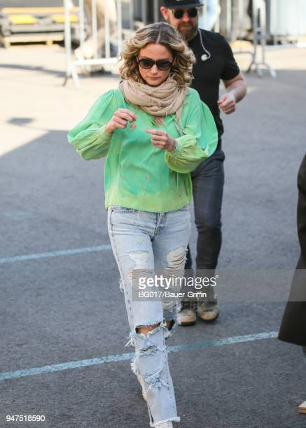 Jennifer Nettles is seen arriving at 'Jimmy Kimmel Live' on April 16 2018 in Los Angeles California