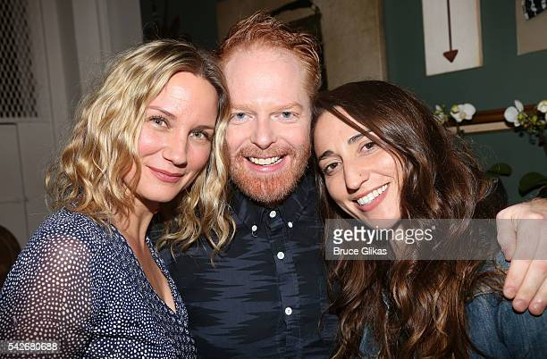 Jennifer Nettles Jesse Tyler Ferguson and Sara Bareilles pose backstage at the hit comedy 'Fully Committed' on Broadway at The Lyceum Theatre on June...
