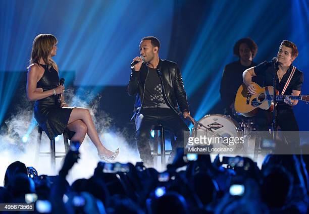 Jennifer Nettles John Legend and Hunter Hayes perform onstage at the 2014 CMT Music Awards at Bridgestone Arena on June 4 2014 in Nashville Tennessee