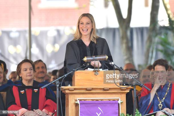 Jennifer Nettles of musical group Sugarland delivers the commencement speech during Agnes Scott 2018 Commencement at Agnes Scott College on May 12...