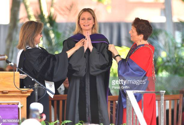 Jennifer Nettles of musical group Sugarland receives a honorary degree during Agnes Scott 2018 Commencement at Agnes Scott College on May 12 2018 in...