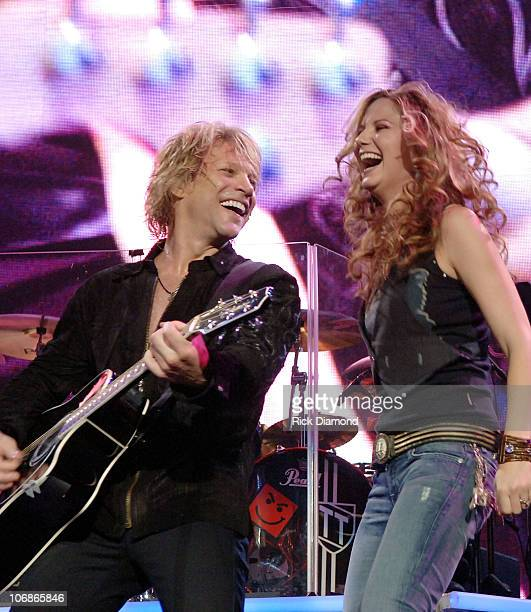 """Jennifer Nettles of Sugarland joins Bon Jovi to sing the song """"Who Says You Can't Go Home"""" Nettles recorded the song with Bon Jovi and the track..."""