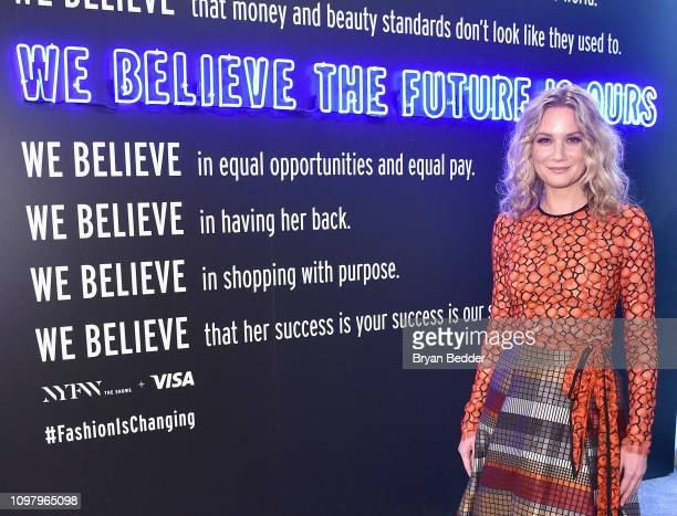 Jennifer Nettles poses in front of the Visa NYFW Fashion Manifesto Wall during New York Fashion Week The Shows at Spring Studios on February 11 2019...