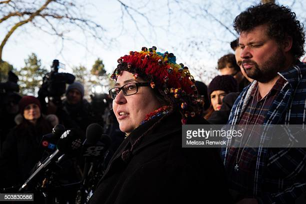 Jennifer Neville-Lake and her husband, Edward, speak to the media after Marco Muzzo to pleads guilty in deadly Vaughan crash.