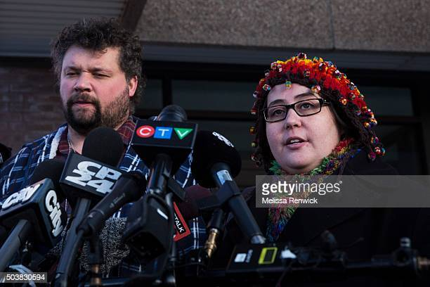 TORONTO ON  JANUARY 06 Jennifer NevilleLake and her husband Edward speak to the media after Marco Muzzo to pleads guilty in deadly Vaughan crash