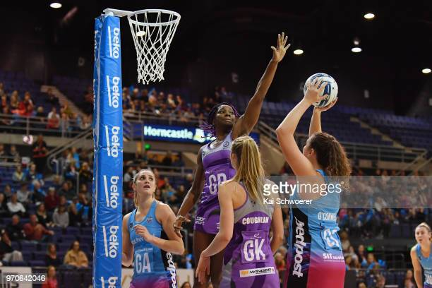 Jennifer O'Connell of the Steel is challenged by Ama Agbeze of the Northern Stars during the round six ANZ Premiership match between the Northern...