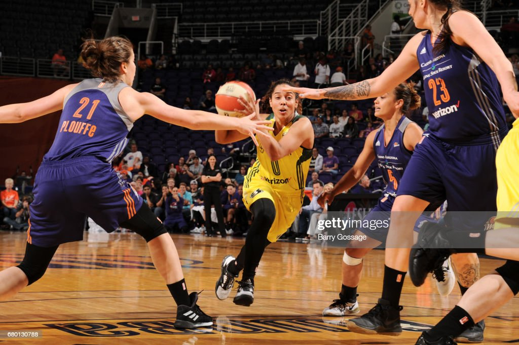Jennifer O'Neill #0 of the Seattle Storm drives to the basket against the Phoenix Mercury during a preseason game on May 7, 2017 at Talking Stick Resort Arena in Phoenix, Arizona.