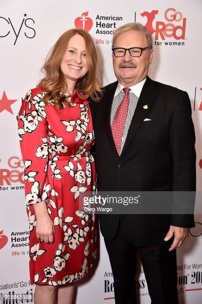 Jennifer O'Sullivan and former chairman of AHA Al Royce attend the American Heart Association's Go Red For Women Red Dress Collection 2018 presented...