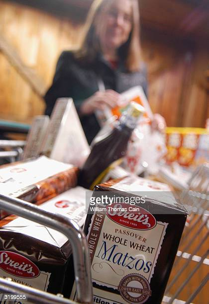 Jennifer Paget of Lower Makefield Pennsylvania shops for Passover food items at McCaffrey's Passover Store April 2 2004 in Yardley Pennsylvania The...