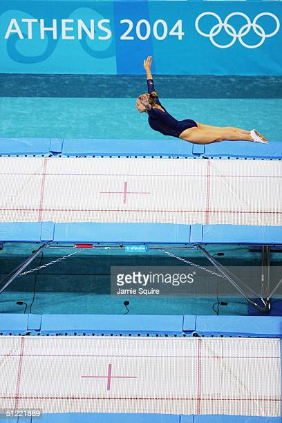 Jennifer Parilla of the USA competes in the first routine for the women's trampoline event on August 20 2004 during the Athens 2004 Summer Olympic...