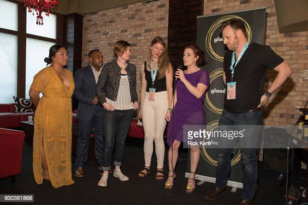 Jennifer Peace El Cook Layla Ireland Jamie Coughlin Fiona Dawson and Gabe Silverman attend the GLAAD and 'TransMilitary' premiere party at TenOak on...